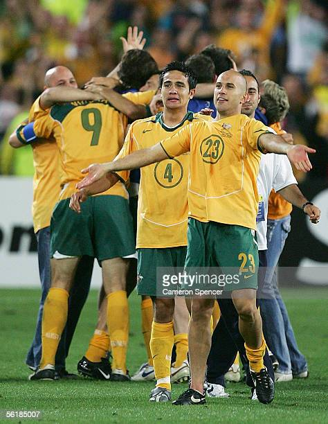 Marco Bresciano of the Socceroos celebrates victory after the second leg of the 2006 FIFA World Cup qualifying match between Australia and Uruguay at...