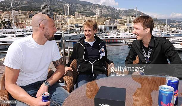 Marco Buchel Redbull Formula 1 driver Sebastian Vettel and Swiss SkiJumper Simon Ammann attend the Redbull Formula 1 Energy Station on May 14 2010 in...