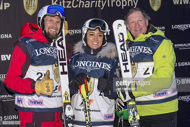 Marco Buechel Fabiana Eccleston and Franz Klammer pose for a picture during the KitzCharityTrophy on January 21 2017 in Kitzbuehel Austria