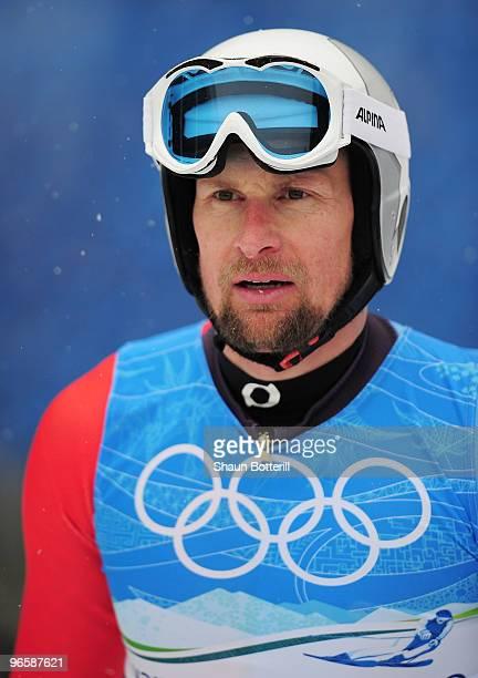 Marco Buechel of Liechtenstein competes in the men's alpine skiing downhill practice held at Whistler Creekside ahead of the Vancouver 2010 Winter...