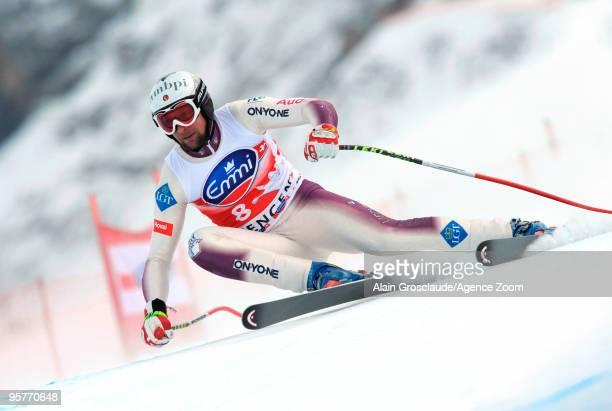 Marco Buechel of Liechtenstein during the Audi FIS Alpine Ski World Cup Men's 2nd Downhill training on January 14 2010 in Wengen Switzerland