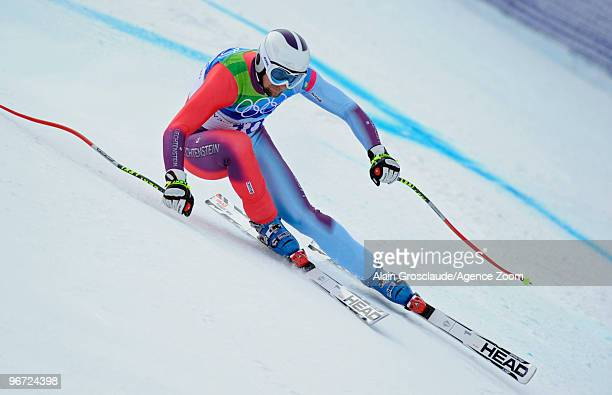Marco Buechel of Liechtenstein during the Men's Alpine Skiing Downhill on Day 4 of the 2010 Vancouver Winter Olympic Games on February 15 2010 in...