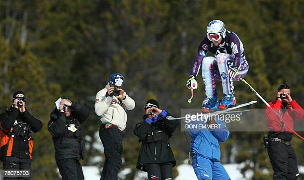 Marco Buechel of Liechtenstein has his picture taken by coaches during a training run for the FIS World Cup men's downhill 23 November 2007 in Lake...