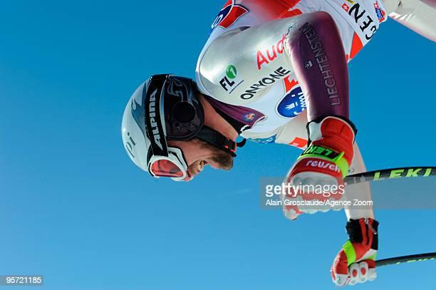 Marco Buechel of Liechtenstein in action during the Audi FIS Alpine Ski World Cup Men's 1st Downhill training on January 12 2010 in Wengen Switzerland