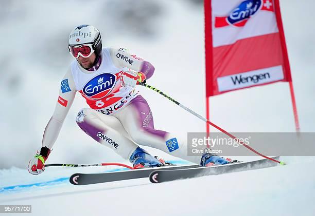 Marco Buechel of Liechtenstein in action during the FIS Ski World Cup Downhill training on January 14 2010 in Wengen Switzerland
