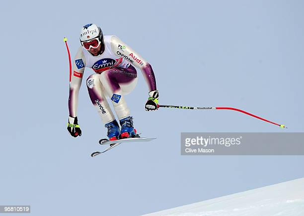 Marco Buechel of Liechtenstein in action on his way to third place during the FIS World Cup Downhill event on January 16 2010 in Wengen Switzerland