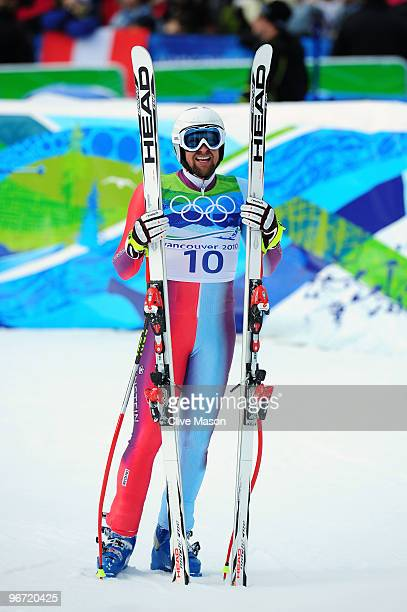 Marco Buechel of Liechtenstein looks on during the Alpine skiing Men's Downhill at Whistler Creekside during the Vancouver 2010 Winter Olympics on...