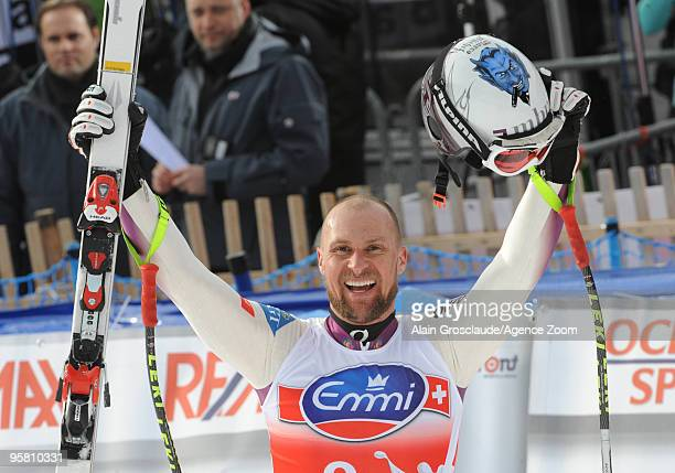 Marco Buechel of Liechtenstein takes 3rd place during the Audi FIS Alpine Ski World Cup Men's Downhill on January 16 2010 in Wengen Switzerland