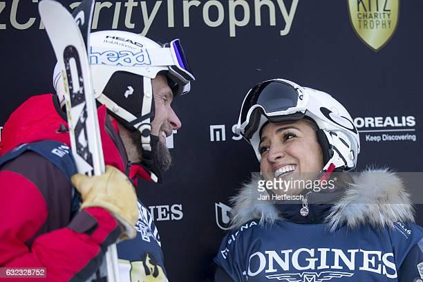 Marco Buechel talkes to Fabiana Ecclestone during the KitzCharityTrophy on January 21 2017 in Kitzbuehel Austria
