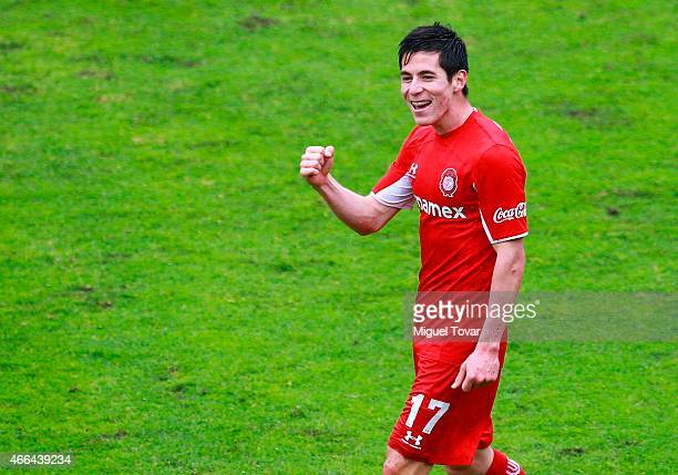 Marco Bueno of Toluca celebrates after scoring during a match between Toluca and Queretaro as part of 10th round Clausura 2015 Liga MX at Nemesio...