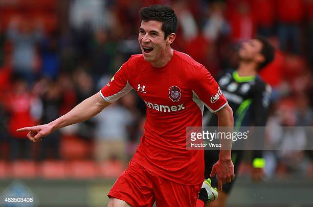 Marco Bueno of Toluca celebrates after scoring the secong goal of his team during a match between Toluca and Santos Laguna as part of 6th round...