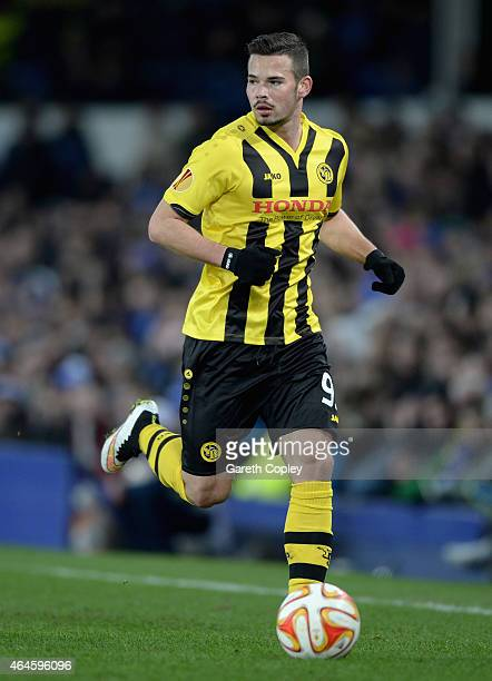Marco Burki of Young Boys in action during the UEFA Europa League Round of 32 match between Everton and BSC Young Boys on February 26 2015 in...