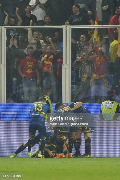 Marco Calderoni of US Lecce celebrates after scoring his team's second goal during the Serie A match between SPAL and US Lecce at Stadio Paolo Mazza...