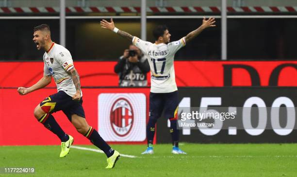 Marco Calderoni of US Lecce celebrates his goal during the Serie A match between AC Milan and US Lecce at Stadio Giuseppe Meazza on October 20, 2019...
