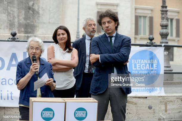Marco Cappato Mina Welby and Filomena Gallo with the Italian Radicals and the Luca Coscioni association protest in front of the Chamber of Deputies...