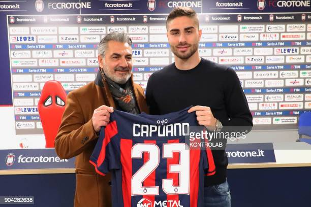 Marco Capuano defender just bought by Fc Crotone with President Gianni Vrenna during the press conference