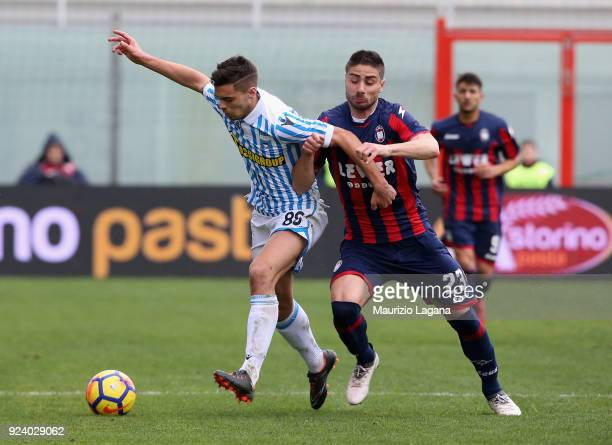 Marco Capuano of Crotone competes for the ball with Alberto Grassi of Spal during the serie A match between FC Crotone and Spal at Stadio Comunale...
