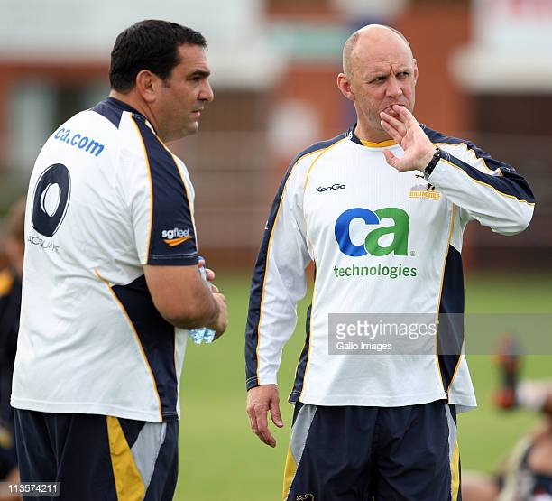 Marco Caputo Scrum coach with Head Coach Tony Rea during the Brumbies training session at Northwood School on May 03 2011 in Durban South Africa