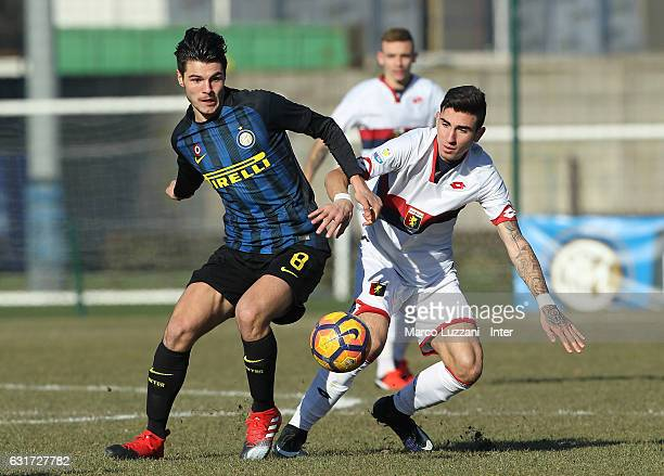 Marco Carraro of FC Internazionale Milano competes for the ball during the Primavera Tim juvenile match between FC Internazionale and Genoa CFC at...
