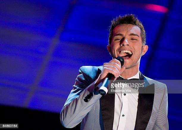 Marco Carta performs onstage on opening night of the 59th San Remo Song Festival at the Ariston Theatre on February 17, 2009 in San Remo, Italy.