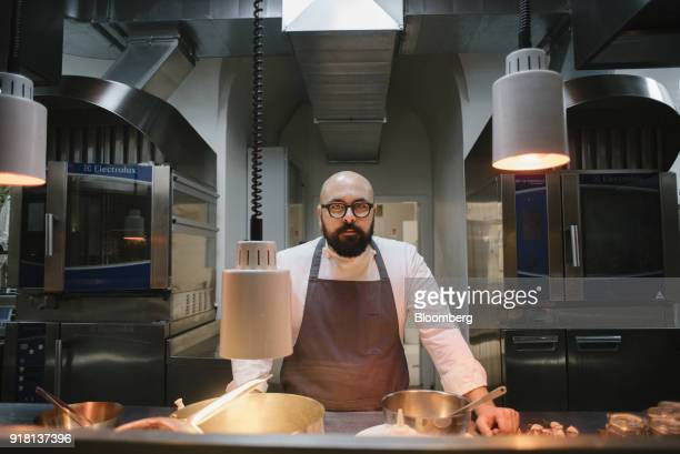 Marco Cassai executive chef at Atman a two Michelin star restaurant poses for a photograph in the restaurant at Villa Rospigliosi in Lamporecchio...