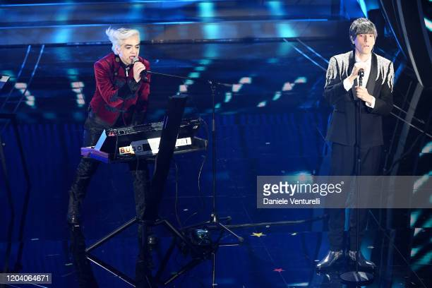 Marco Castoldi aka Morgan and Cristian Bugatti aka Bugo attend the 70° Festival di Sanremo at Teatro Ariston on February 04 2020 in Sanremo Italy