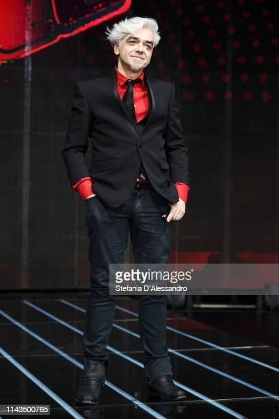 Marco Castoldi 'Morgan' attends a photocall to launch The Voice of Italy 2019 on April 18 2019 in Milan Italy