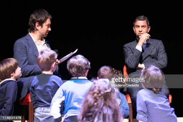 Marco Cattaneo and Alessandro Costacurta Aka Billy attend presention of the book Zio Billy e i suoi amici Il calcio e lo scolapasta at Teatro...