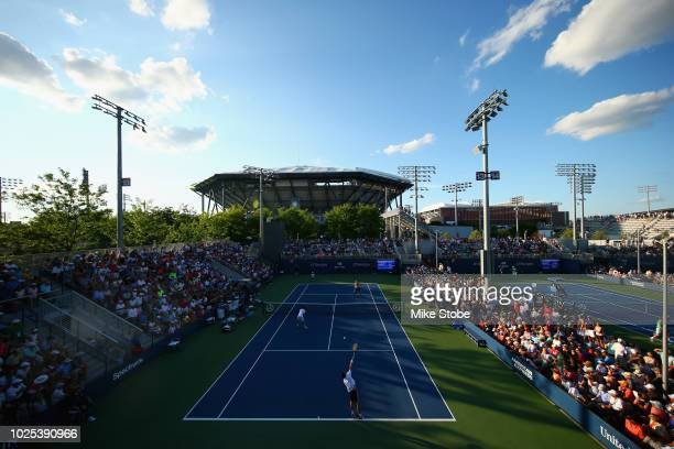 Marco Cecchinato and Daniele Bracciali of Italy play Mike Bryan and Jack Sock during their first round men's doubles match on Day Four of the 2018 US...