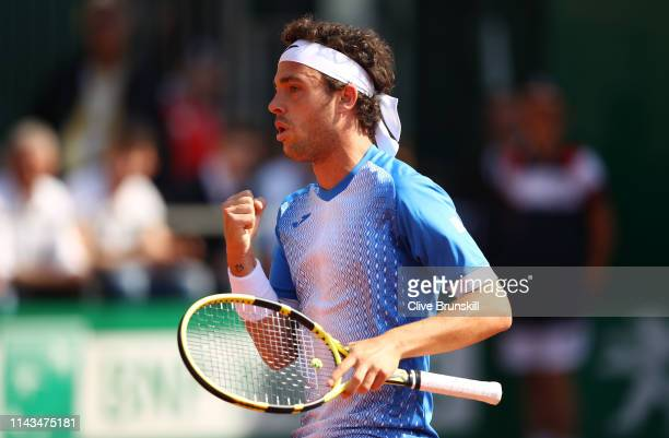 Marco Cecchinato of Italy celebrates a point against Guido Pella of Argentina in their third round match during day five of the Rolex Monte-Carlo...