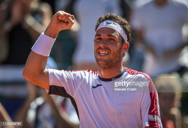 Marco Cecchinato of Italy celebrates after winning a semifinal match against Guido Pella of Argentina as part of Argentina Open ATP 250 2019 at...