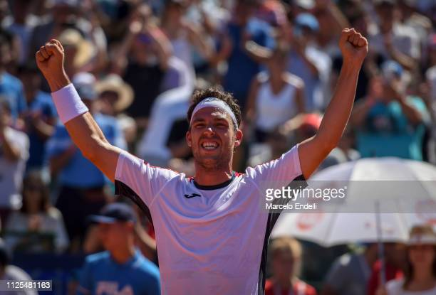 Marco Cecchinato of Italy celebrates after winning the Argentina Open ATP 250 against Diego Schwarztman of Argentina during the final day of...