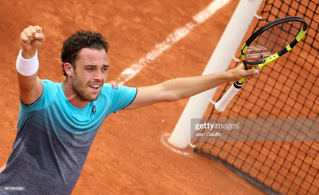 Marco Cecchinato of Italy celebrates his victory over Novak Djokovic of Serbia during Day 10 of the 2018 French Open at Roland Garros stadium on June 4, 2018 in Paris, France.