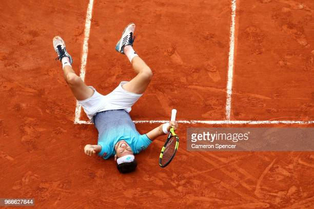 Marco Cecchinato of Italy celebrates victory during the mens singles fourth round match against David Goffin of Belgium during day eight of the 2018...