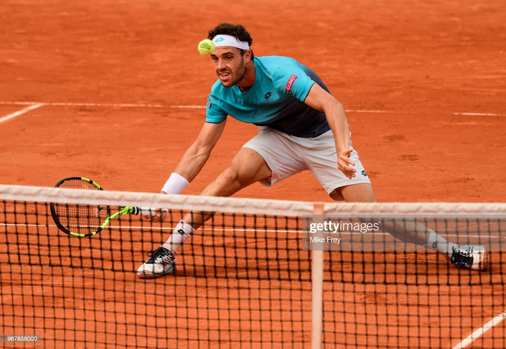 Marco Cecchinato of Italy hits a forehand against Novak Djokovic of Serbia in the Quarter Finals of the men's singles during the French Open at Roland Garros on June 5, 2018 in Paris, France.