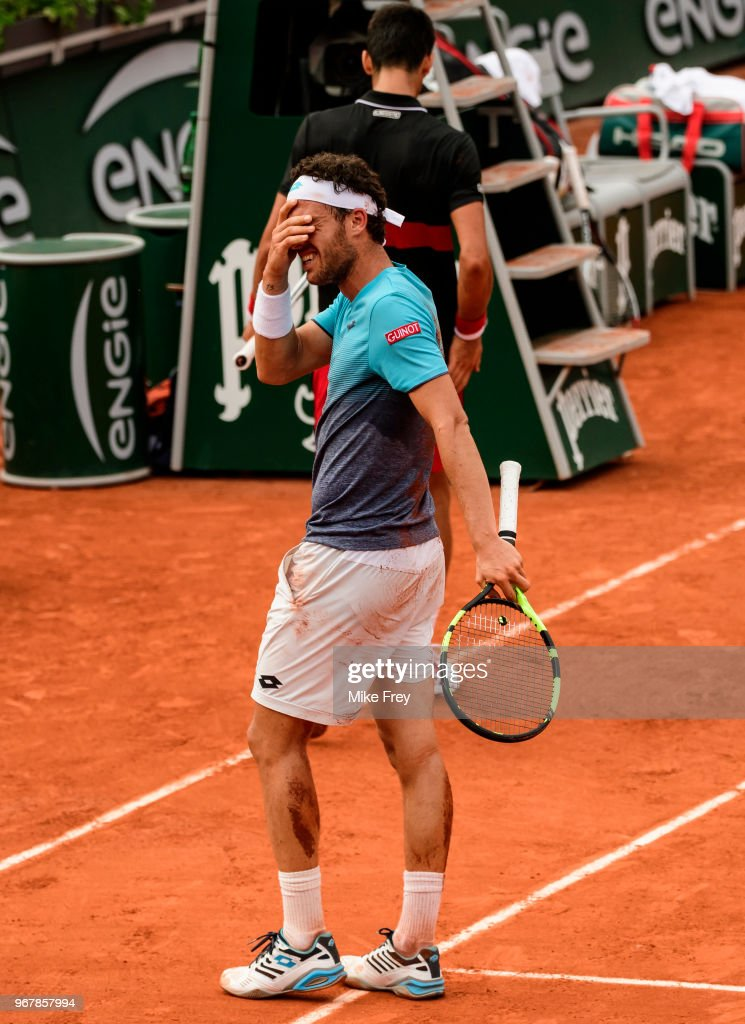 Marco Cecchinato of Italy is overcome with emotion after defeating Novak Djokovic of Serbia 6-3 7-6 1-6 7-6 in the Quarter Finals of the men's singles during the French Open at Roland Garros on June 5, 2018 in Paris, France.