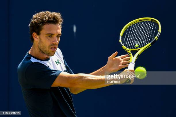 Marco Cecchinato of Italy is seen in action during his training Session on day one of Fever Tree Championships at Queens Club London on June 17 2019