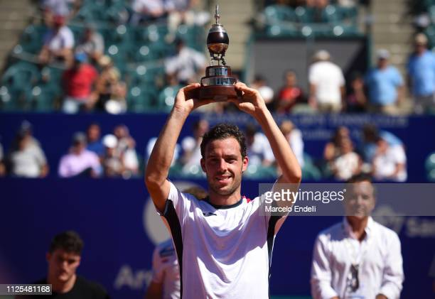 Marco Cecchinato of Italy lifts the trophy after winning the Argentina Open ATP 250 against Diego Schwarztman of Argentina during the final day of...