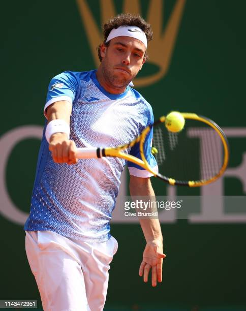 Marco Cecchinato of Italy plays a backhand against Guido Pella of Argentina in their third round match during day five of the Rolex MonteCarlo...