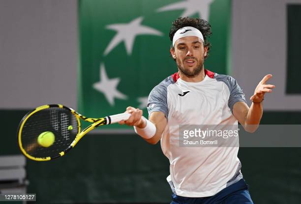 Marco Cecchinato of Italy plays a forehand during his Men's Singles third round match against Alexander Zverev of Germany on day six of the 2020...