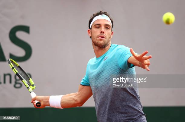 Marco Cecchinato of Italy plays a forehand in his mens singles third round match against Pablo Carreno Busta of Spain during day six of the 2018...