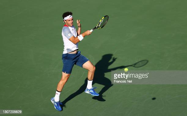 Marco Cecchinato of Italy returns a forehand during the Round of 64 Men's Single's match between Richard Gasquet and Marco Cecchinato on Day Nine of...