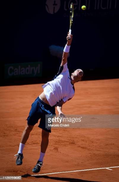 Marco Cecchinato of Italy serves during a semifinal match against Guido Pella of Argentina as part of Argentina Open ATP 250 2019 at Buenos Aires...