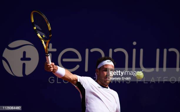 Marco Cecchinato of Italy takes a backhand shot against Roberto Carballés of Spain during the Argentina Open ATP 250 2019 at Buenos Aires Lawn Tennis...
