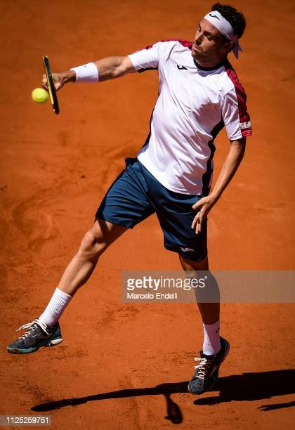Marco Cecchinato of Italy takes a backhand shot during a semifinal match against Guido Pella of Argentina as part of Argentina Open ATP 250 2019 at...