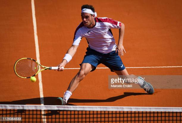 Marco Cecchinato of Italy takes a forehand shot against Roberto Carballés of Spain during the Argentina Open ATP 250 2019 at Buenos Aires Lawn Tennis...