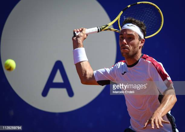 Marco Cecchinato of Italy takes a forehand shot during a semifinal match against Guido Pella of Argentina as part of Argentina Open ATP 250 2019 at...