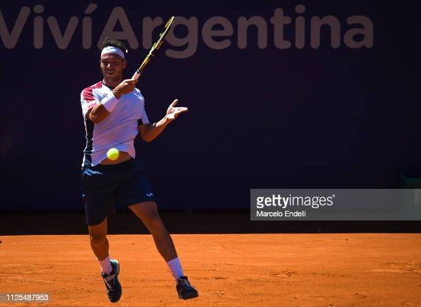 Marco Cecchinato takes a forehand shot against Diego Schwarztman of Argentina during the final day of Argentina Open ATP 250 2019 at Buenos Aires...