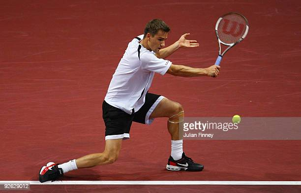 Marco Chiudinelli of Switzerland in action in his match against Philipp Kohlschreiber of Germany during Day Two of the Davidoff Swiss Indoors Tennis...