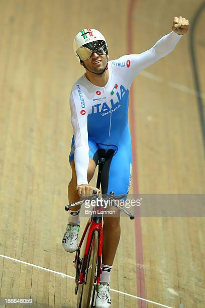 Marco Coledan of Italy celebrates winning the Men's Individual Pursuit on day two of the UCI Track Cycling World Cup at Manchester Velodrome on...